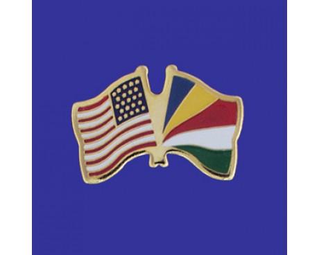 Seychelles Lapel Pin (Double Waving Flag w/USA)