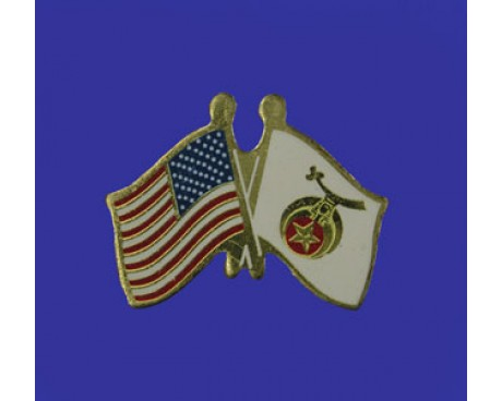 Shriner  Lapel Pin (Double Waving Flag w/USA)