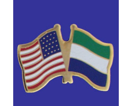 Sierra Leone Lapel Pin (Double Waving Flag w/USA)
