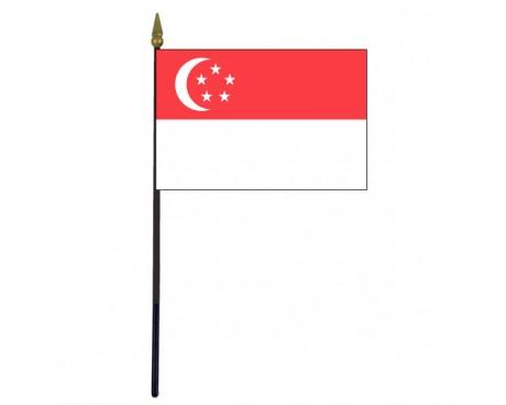"""Singapore Stick Flag - 4x6"""""""