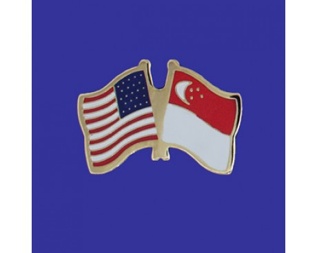 Singapore Lapel Pin (Double Waving Flag w/USA)