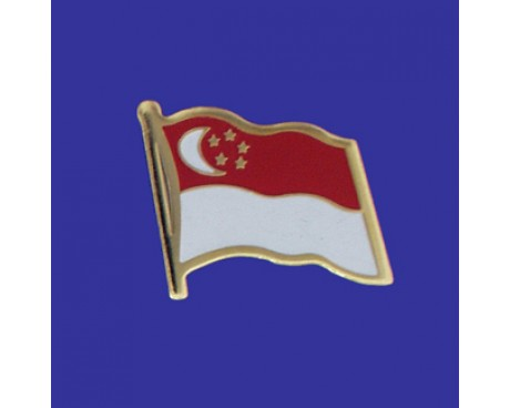 Singapore Lapel Pin (Single Waving Flag)