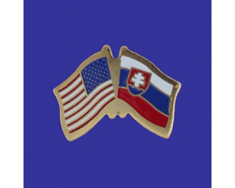 Slovenia Lapel Pin (Double Waving Flag w/USA)