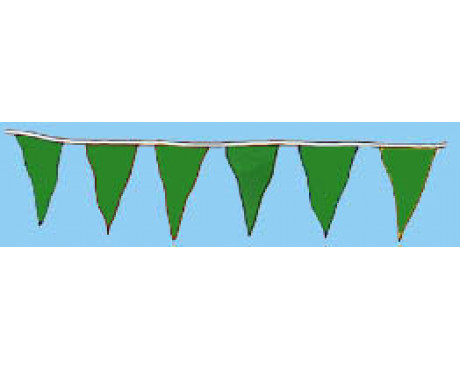 "Green 12x18"" Triangle Pennants - 60'"