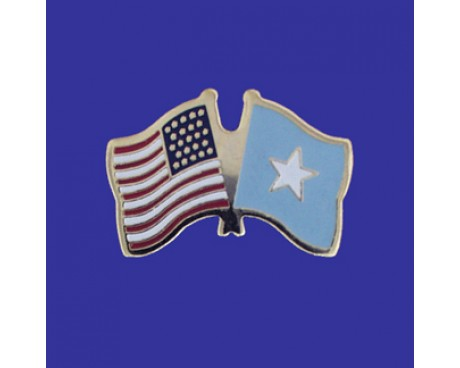 Somalia Lapel Pin (Double Waving Flag w/USA)