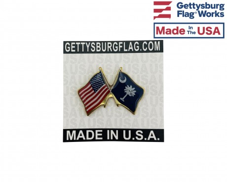 South Carolina State Flag Lapel Pin (Double Waving Flag w/USA)