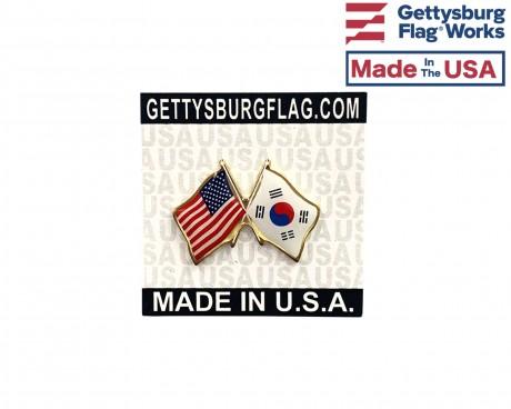 South Korea Lapel Pin (Double Waving Flag w/USA)