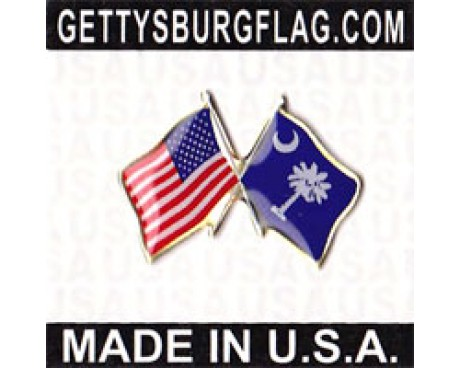 South Carolina State Flag Lapel Pin (with US Flag)