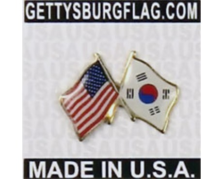 South Korea Lapel Pin (Double Waving Flag w/USA)