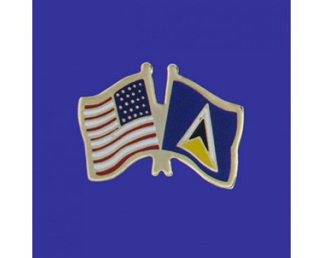St Lucia Lapel Pin (Double Waving Flag w/USA)