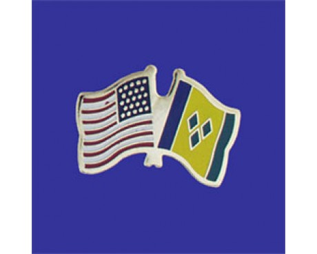 St Vincent & the Grenadines Lapel Pin (Double Waving Flag w/USA)