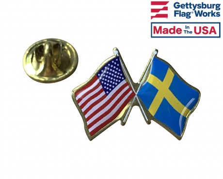 Sweden Lapel Pin (Double Waving Flag w/USA)