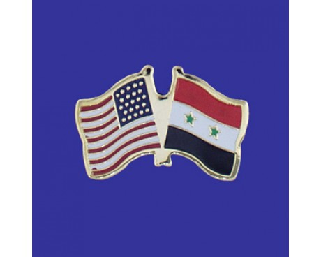 Syria Lapel Pin (Double Waving Flag w/USA)