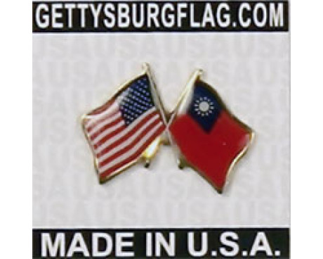 Taiwan & USA Flag Lapel Pin (Double Waving Flag)