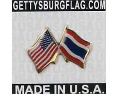 Thailand Lapel Pin (Double Waving Flag w/USA)
