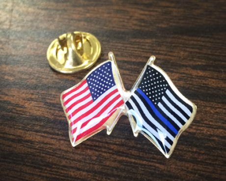 Thin Blue Line & American Flag Crossed Lapel Pin
