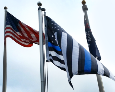 Waving Thin Blue Line Flag