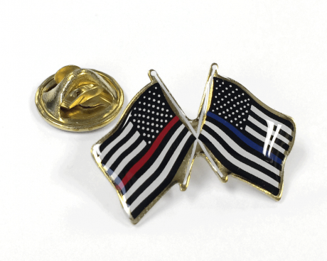 Crossed Flag Lapel Pin, Thin Red Line and Thin Blue Line Flags with clutch