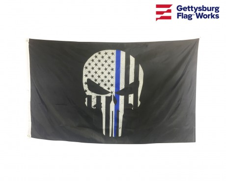Thin Blue Line Punisher Skull Flag-3x5'