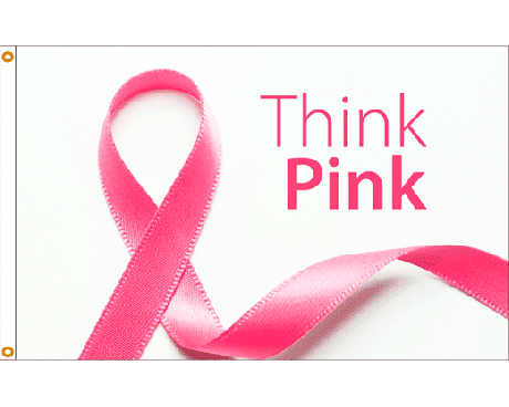 Think Pink Ribbon Flag