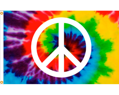 Tie Dye Peace Sign Flag