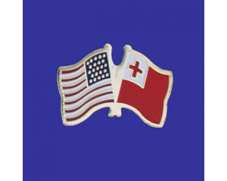 Tonga Lapel Pin (Double Waving Flag w/USA)