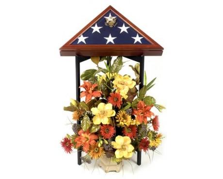 Tri-Column Memorial Case Stand Black