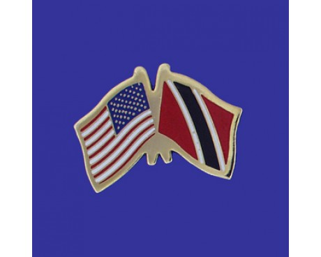 Trinidad & Tobago Lapel Pin (Double Waving Flag w/USA)