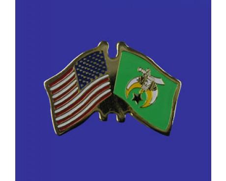 Tripoli Shrine Lapel Pin (Double Waving Flag w/USA)