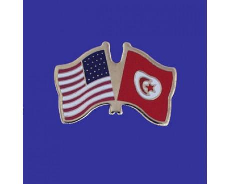 Tunisia Lapel Pin (Double Waving Flag w/USA)