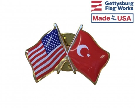 Turkey Lapel Pin (Double Waving Flag w/USA)