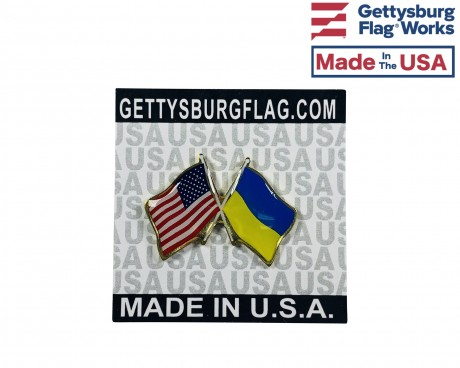 Ukraine Lapel Pin (Double Waving Flag w/USA)