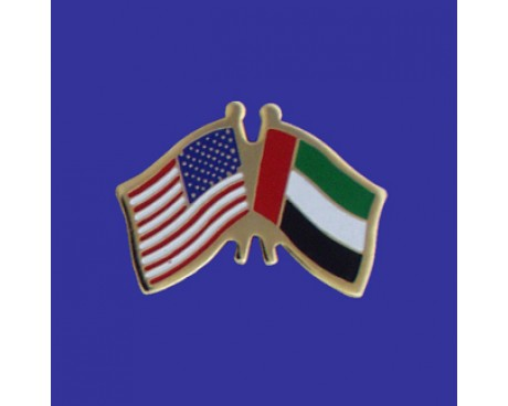 United Arab Emirates Lapel Pin (Double Waving Flag w/USA)