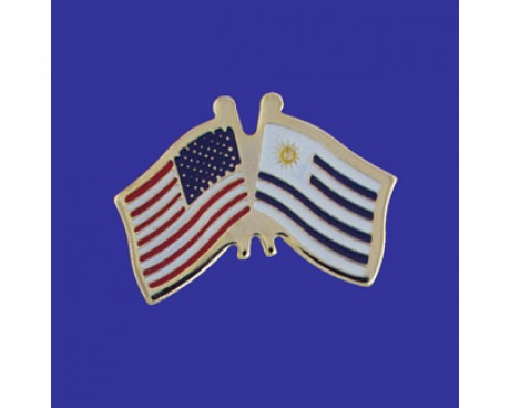 Uruguay Lapel Pin (Double Waving Flag w/USA)