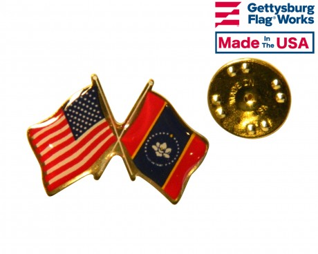 Mississippi State Flag Lapel Pin (Double Waving Flag w/USA)