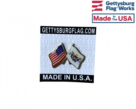 Virgin Islands Lapel Pin (Double Waving Flag w/USA)