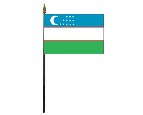 """Uzbekistan Stick Flag - 4x6"""""""