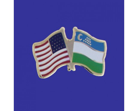 Uzbekistan Lapel Pin (Double Waving Flag w/USA)
