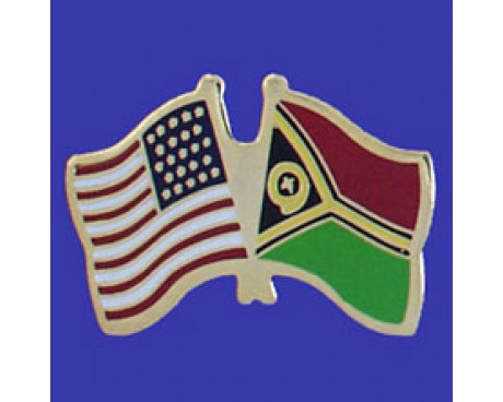 Vanuatu Lapel Pin (Double Waving Flag w/USA)