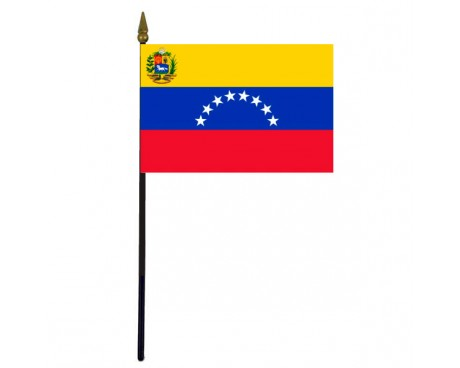 Venezuela Stick Flag (with Seal)