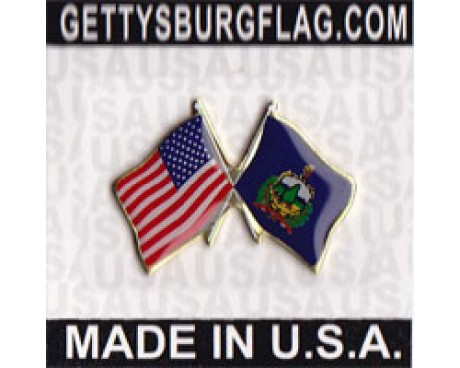 Vermont State Flag Lapel Pin (Double Waving Flag w/USA)