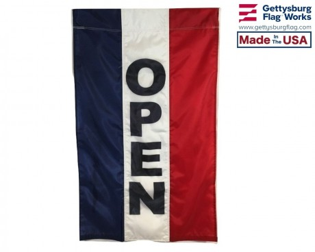 OPEN Flag, Red, White & Blue (Vertical)