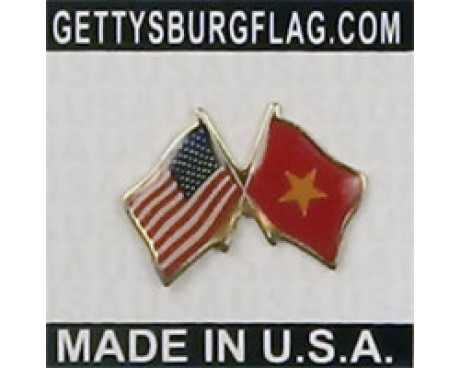 Vietnam Lapel Pin (Double Waving Flag w/USA)