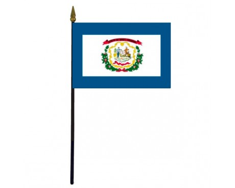 West Virginia State Stick Flag - 4x6""