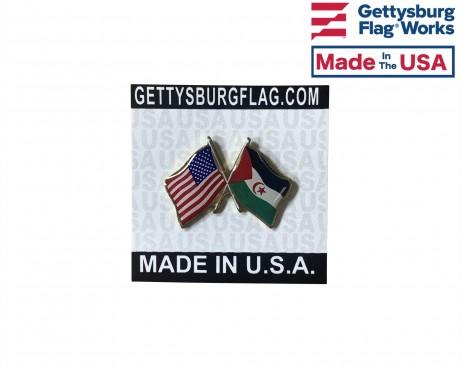 Western Sahara Lapel Pin (Double Waving Flag w/USA)