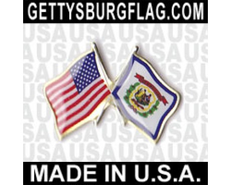 West Virginia State Flag Lapel Pin (with US Flag)