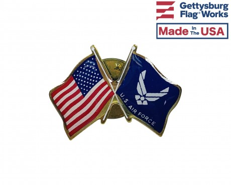 Air Force Wings Lapel Pin (Double Waving Flag w/USA)
