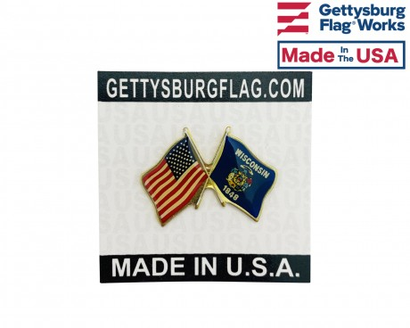 Wisconsin State Flag Lapel Pin (Double Waving Flag w/USA)