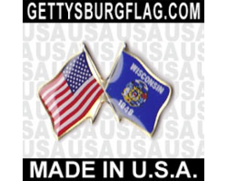 Wisconsin State Flag Lapel Pin (with US Flag)