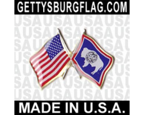 Wyoming State Flag Lapel Pin (with US Flag)